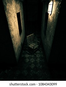 3d rendering of an old chair in haunted house or asylum
