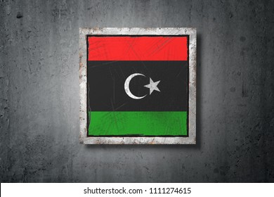3d rendering of an old Libya flag in a concrete wall