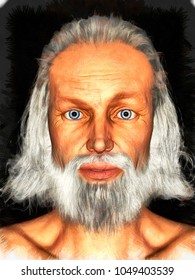 3d rendering old man portrait with white beard and hair isolated o n black