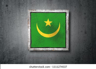 3d rendering of an old Mauritania flag in a concrete wall