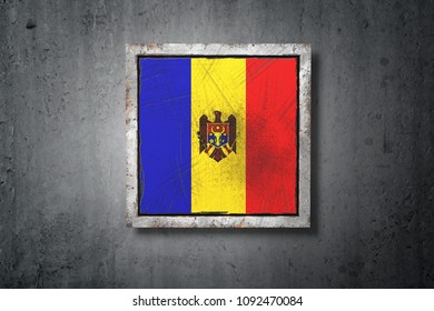 3d rendering of an old Moldova flag in a concrete wall