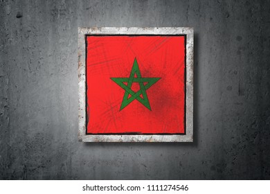 3d rendering of an old Morocco flag in a concrete wall