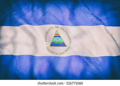 3d rendering of an old Republic of Nicaragua flag waving
