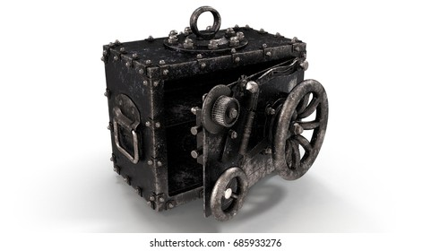 3D rendering - old vintage safe isolated on white background.