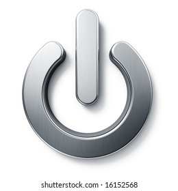 3d rendering of a on off sign in brushed metal on a white isolated background.