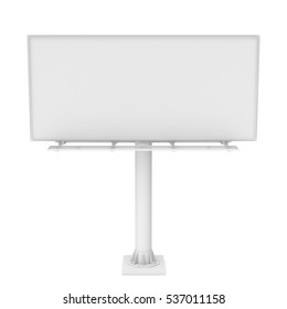 3d rendering of one large white blank steel roadside billboard with no ads isolated on white background. Outdoor advertizing. Highway structures and elements. Marketing and promotion.