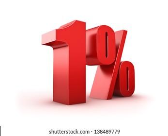 3D Rendering of a one percent symbol