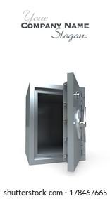 3D rendering of an open empty safe