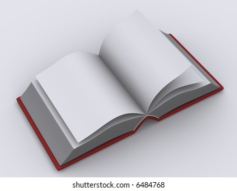 3d rendering of an opened book with blank pages