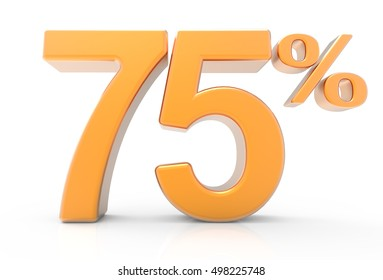 3d rendering of an orange 75% symbol, isolated on white background