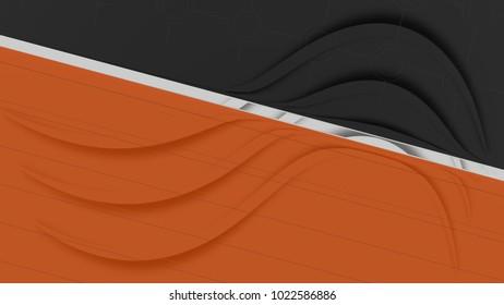 3D rendering orange and black background