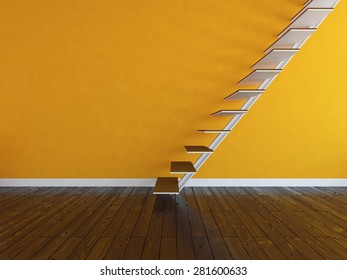 3d rendering of a orange wall with stairs