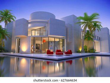 3D rendering of an original modern villa with swimming pool