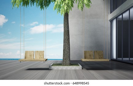 3d rendering outdoor living and swing chairs and sea view background