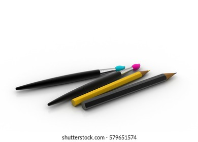 3D rendering of Paint brush and pencil