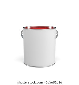 3d rendering of a paint bucket full of red paint. Painting tools. DIY. Homebuilding and renovation.