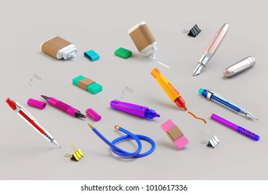 3d rendering of paint and write tools set. Stationery random lying on the grey background. Education or school supplies items in nice bright cartoon style. Side view