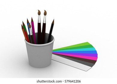 3d rendering of Painting tools with colors