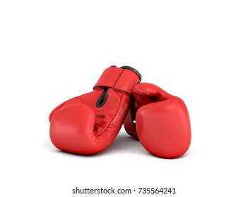 3d rendering of a pair of red boxing gloves lying close to each other on a white background. Fighting sports. Fitness gear. Strong opponent.