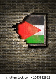 3d rendering of a Palestine flag over a rusty metallic plate embedded on an old brick wall