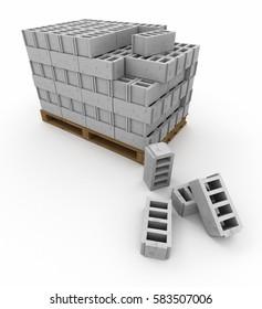 3D rendering of Pallets of stacked cinder blocks