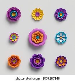 3d rendering, paper art, decorative flowers, floral background, botanical pattern, vivid candy colors, vibrant palette, isolated design elements