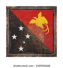 3d rendering of a Papua New Guinea flag over a rusty metallic plate in an old frame. Isolated on white background.