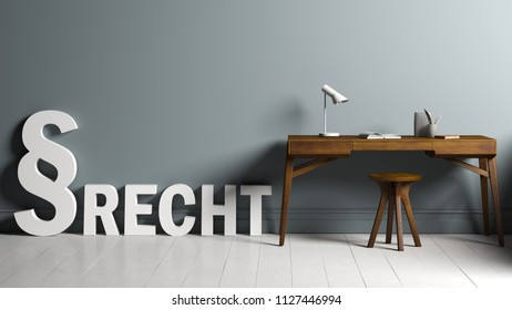 """3D rendering of paragraph symbols standing and the German word """"law"""" besides a desk"""