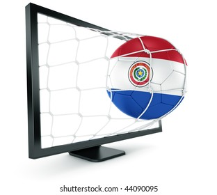 3d rendering of a Paraguayan soccer ball coming out of a monitor