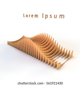 3D rendering of parametric objects of wood on a white background. Object built from complex plates.