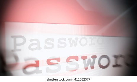 3d rendering password word in browser line on pink background