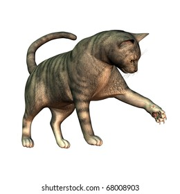 3d rendering  of a pedigree cat playing as  illustration