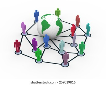 3d rendering of people network around globe. Concept of global business network