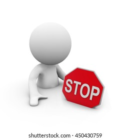 3D Rendering people with a stop sign
