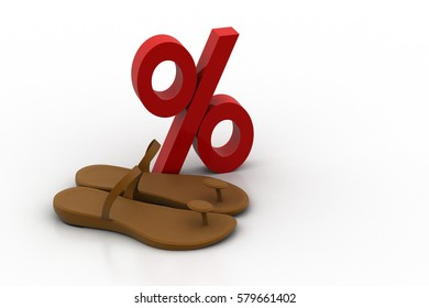 3D rendering of Percentage sign  with sandals