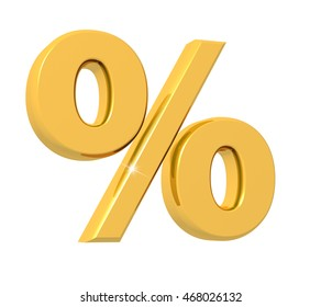 3D rendering of Percentage Symbol made of sparkling gold with reflection isolated on white background.