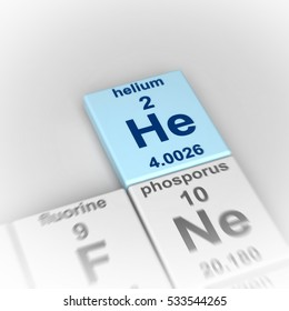 3d rendering of periodic table of elements, focused on helium
