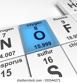 3d rendering of periodic table of elements, focused on oxygen