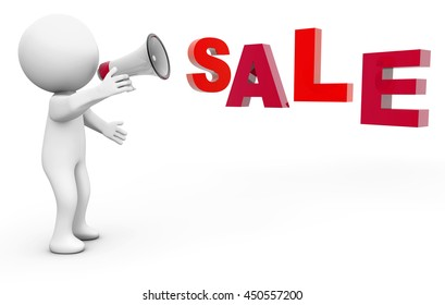 """3d Rendering person with a megaphone and text """"Sale"""""""