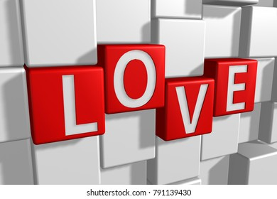 "3D rendering, perspective white text "" LOVE "" on red cube with abstract white grid pattern background."