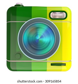 3D rendering of a photo camera icon with a Brazil flag colors