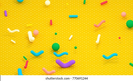 3d rendering picture of colorful geometric toys on the floor.