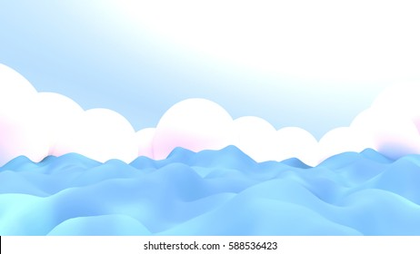 3d rendering picture of ocean waves and clouds.