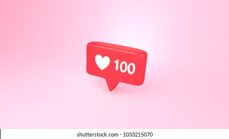 """3d rendering picture of social media notification """"one hundred likes"""" icon."""