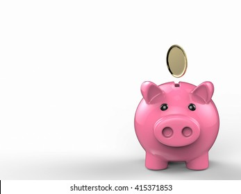 3d rendering piggy bank with gold coin falling
