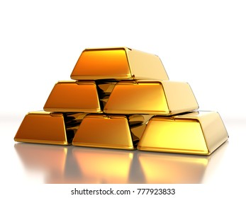 3D rendering of pile of gold ingots on white background