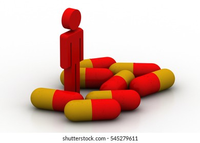 3D rendering of pills and man