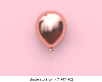 3d rendering pink metallic rose gold reflection balloon abstract minimal pink background christmas holiday new year concept