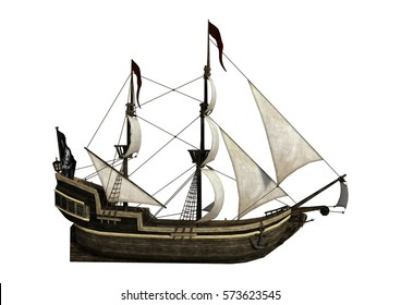 3D rendering of a pirate ship isolated on white background