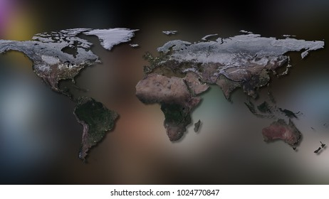 3D rendering of planet Earth. You can see continents, cities, the borders of the seas and oceans. Elements of this image furnished by NASA